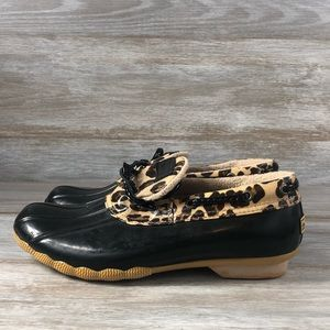 Sperry Top Spider Leopard Print Duck Shoes